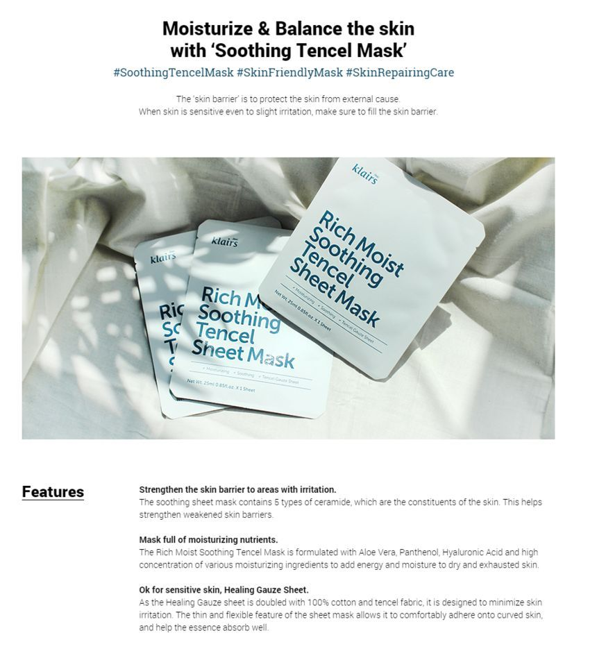 KLAIRS Rich Moist Soothing Tencel Sheet Mask Cosme Hut Australia