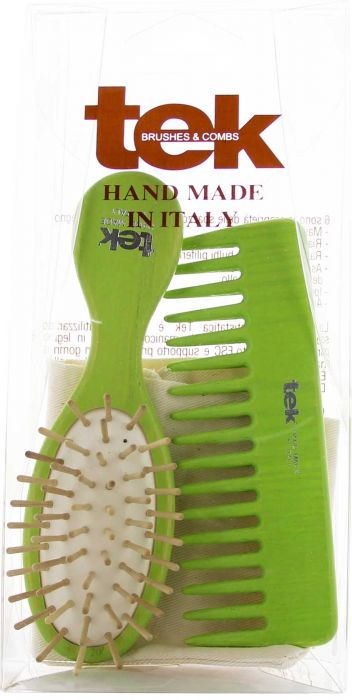 Oval Purse Brush and Comb with cotton bag - Lime FSC 100%