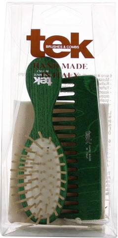 Oval Purse Brush and Comb with cotton bag - Green FSC 100%