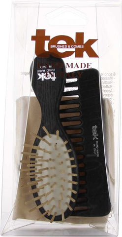 Oval Purse Brush and Comb with cotton bag - Black FSC 100%