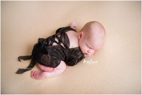 Newborn Black/Brown Velvet Onesie