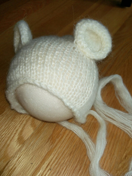 Newborn Mohair Bear Hat