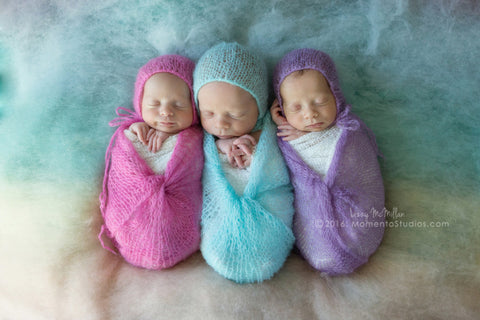 Newborn Mohair Bonnet & Wrap Set