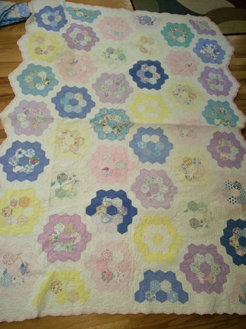 Full Vintage Quilt  - Pastel Grandmother's Flower Garden