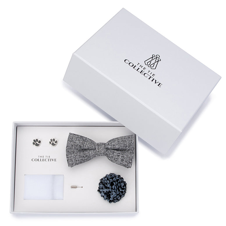Grey Bow Tie Set - Harvey