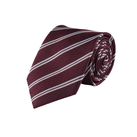 Striped Burgundy Silk Tie