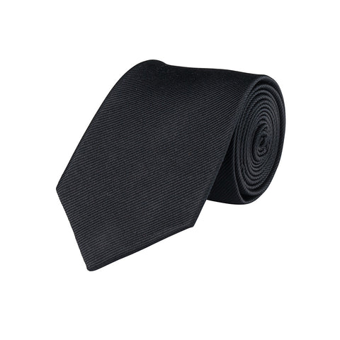 Textured Black Silk Tie