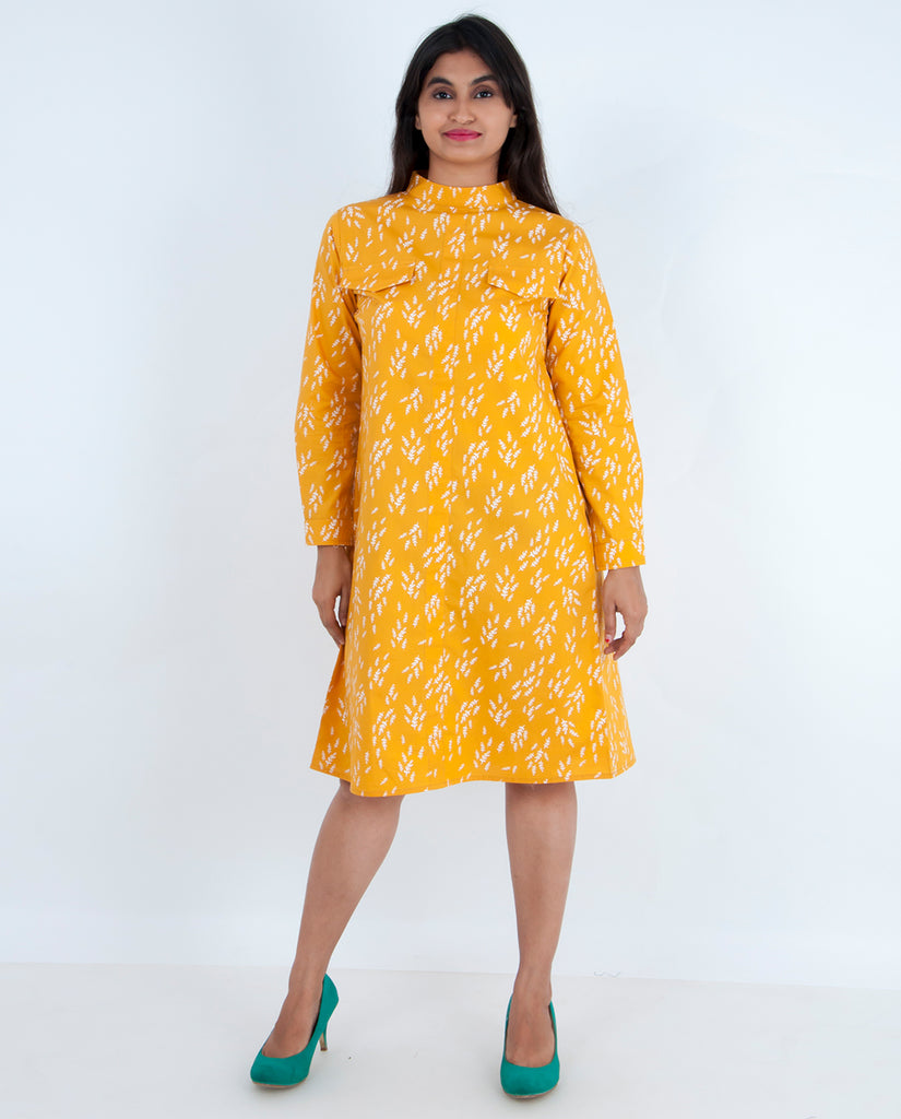 Leafy Mandarin Collar Dress