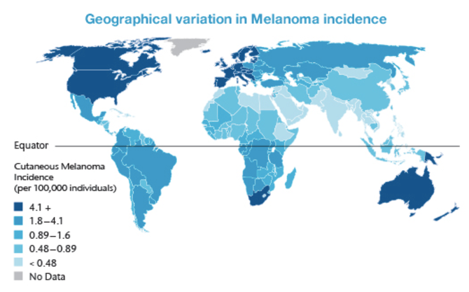 map identifying melanoma risk rates