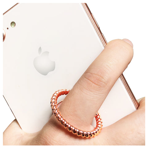 Finger Ring Stand Pink White Marble