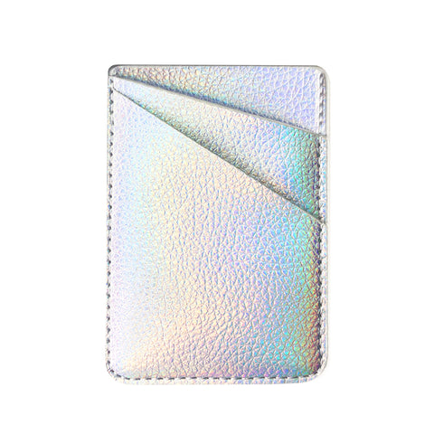 Iridescent Sliver PU Leather Phone Card Holder