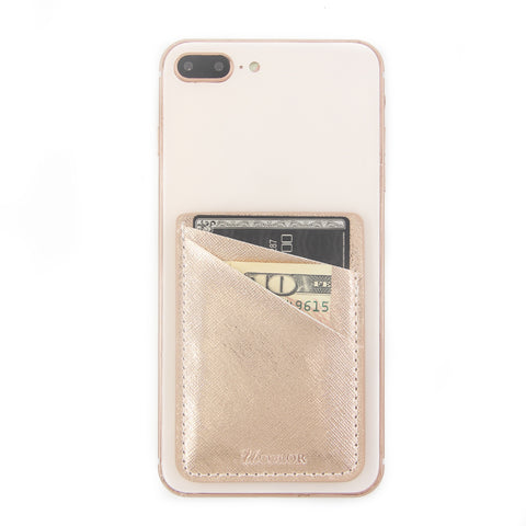 Metallic Gold PU Leather Phone Card Holder