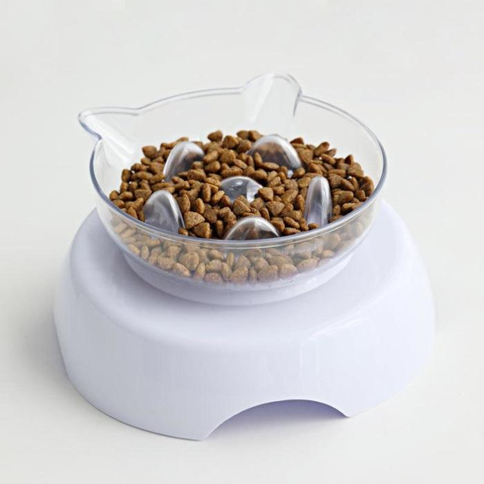 Orthopedic Cat Bowl & Slow Feeder 2-In-1 [Anti-Vomiting] Single (Slow Feeder)