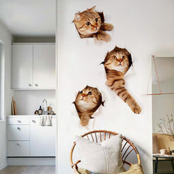 3D Cat Wall Decal Stickers Set