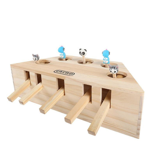 Solid Wood Whack-a-Mole Cat Toy
