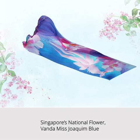 Singapore Orchid Oblong Silk Scarf - Vanda Miss Joaquim Blue Design
