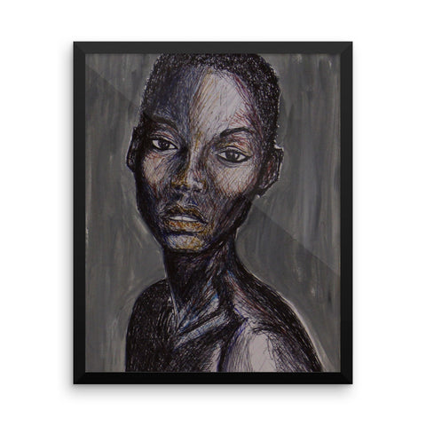 baserbillion art london grey silver black girl short hair great expression baserbillion art