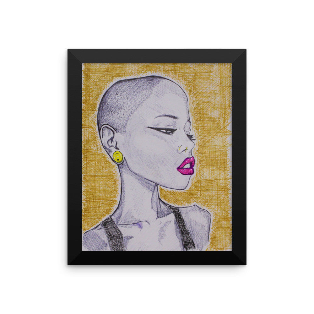 baserbillion art low cut skin head black girl pink lips lipstick mustard black vest