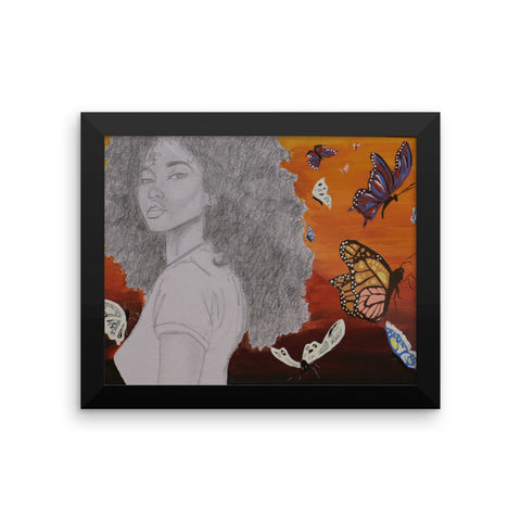 baserbillion art afro black girl london butterflies dawn
