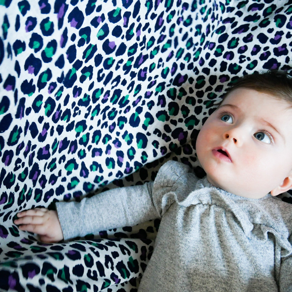 XL PURPLE LEOPARD MUSLIN - for 5+ month old babies