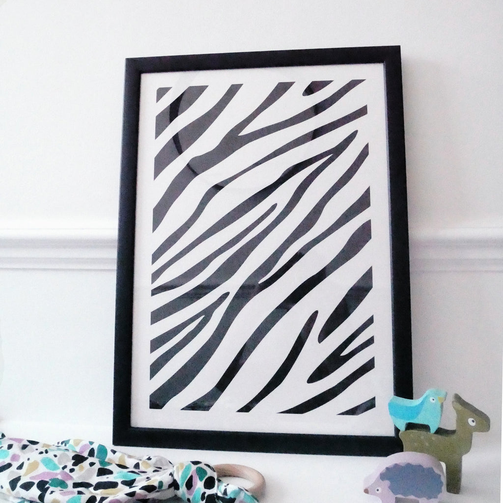 Nursery wall art - baby sensory Zebra print | Etta Loves