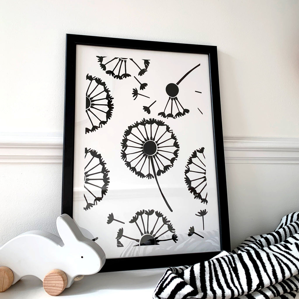 Nursery wall art - baby sensory dandelion print | Etta Loves