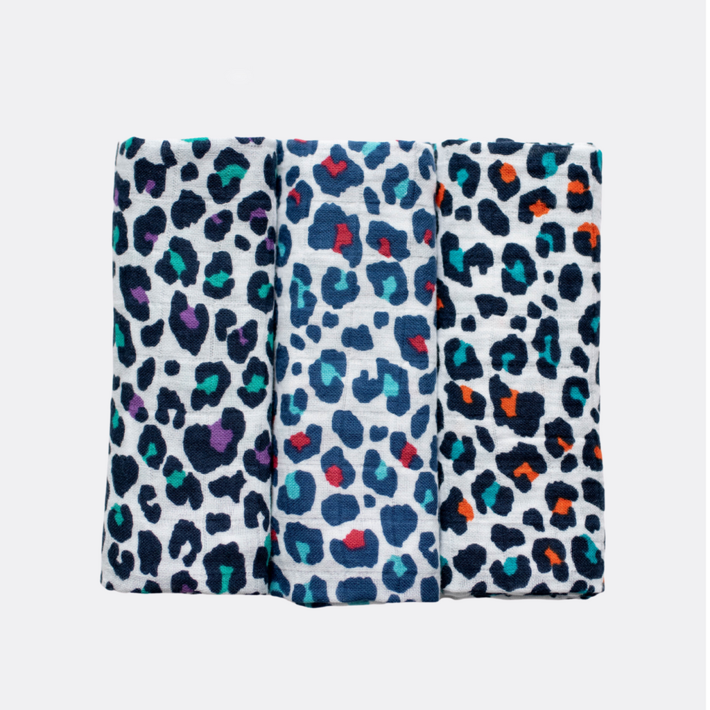 3-PACK LEOPARD PRINT MUSLINS - for 5+ month old babies