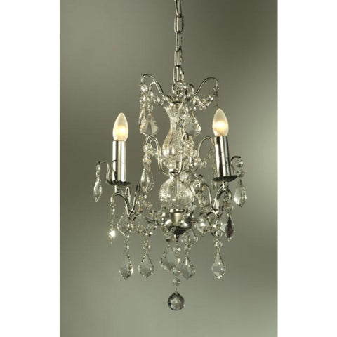 Charlotte Silver Clear Crystal 3 Arm Chandelier 043/3H-SL-32-55