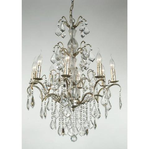Charlotte Silver Clear Crystal 8 Arm Chandelier 043/8H-SL-62-75