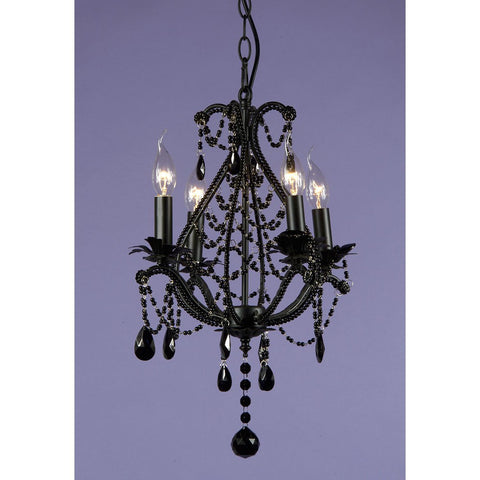 Vintage Lace Black Body Black Crystal 4 Arm Chandelier 085/4H-BLBL-38-44