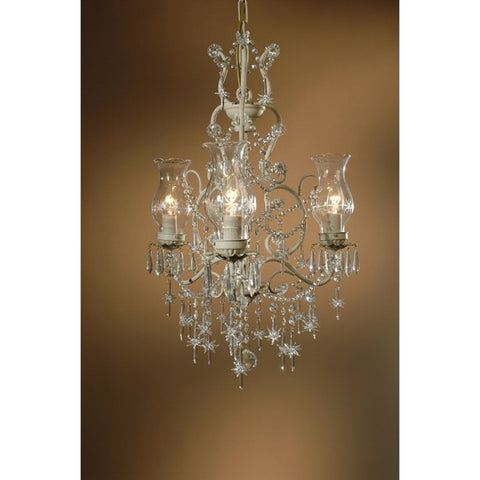 Cinderella Cream Star Drops & Hurricane Shades 3 Arm Chandelier 155/3H-CC