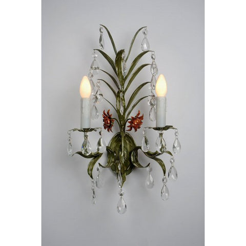 Green Leaf 2 Arm Wall Light 160/2W-GR-35-54