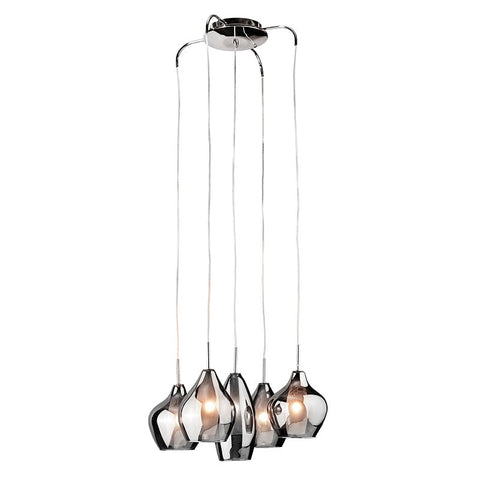 Azzardo Amber Milano 5 Light Silver Glass Pendant Light