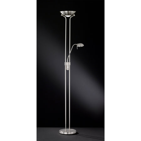 Action Berit 2 Light Nickel LED Uplighter Floor Lamp Black Background 353402640000
