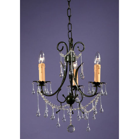 Dark French Green 3 Arm Crystal Chandelier 8017/3H-DG-35-49