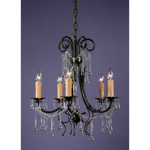 Dark French Green 5 Arm Crystal Chandelier 8017/5H-DG-49-63