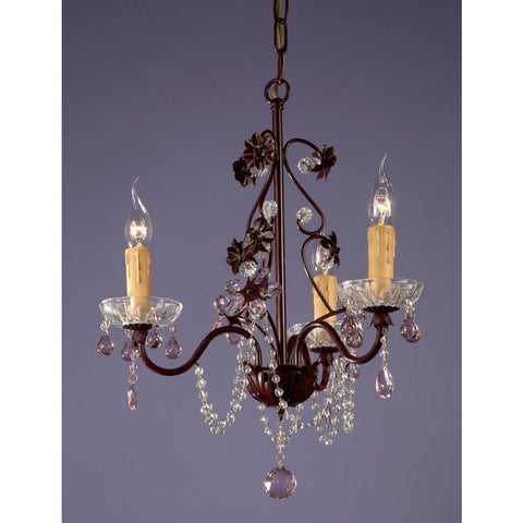 Bronze with Pink Crystals 3 Arm Chandelier 8039/3H-BZPI