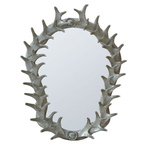 Silver Antler Frame With Oval Bevelled Wall Mirror 82129-SL-40-51