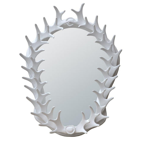 White Antler Frame With Oval Bevelled Wall Mirror 82129-WH-40-51