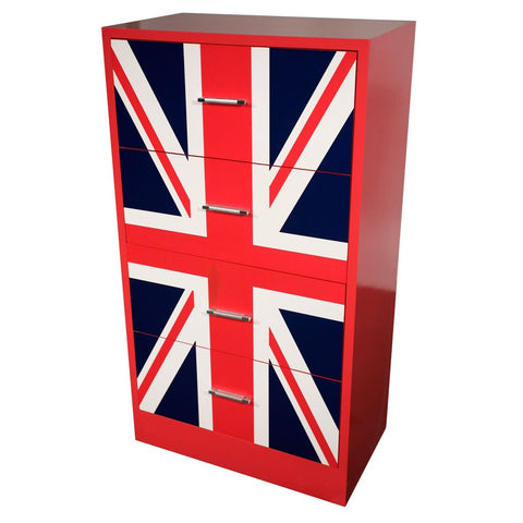 Union Jack High Gloss Retro Style 4 Drawer Chest Of Drawers 9M28-927