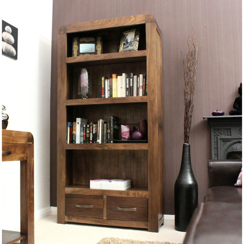 Shiro Walnut Large 2 Drawer Bookcase CDR01A