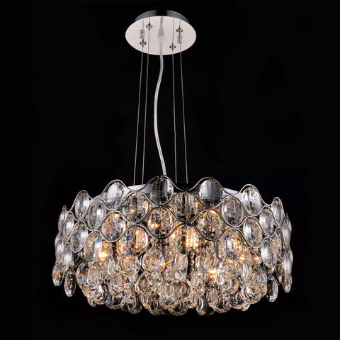 Impex Raina 8 Light Chrome Crystal Pendant Light CF412181/08/CH