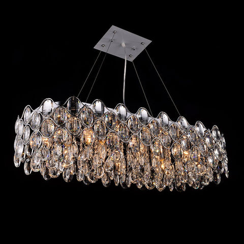 Impex Raina 10 Light Chrome Crystal Oblong Pendant Light CF412181/10/OBL/CH