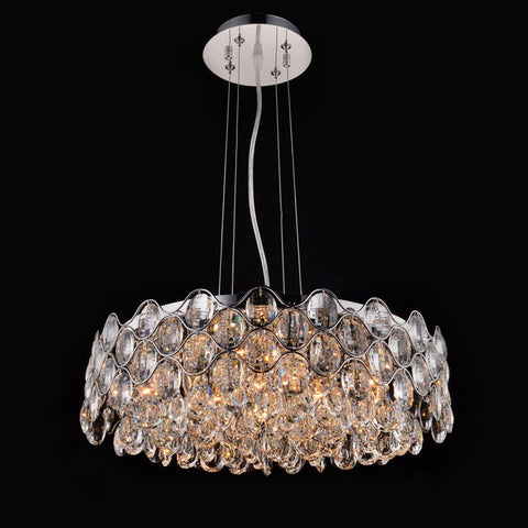 Impex Raina 12 Light Chrome Crystal Pendant Light CF412181/12/CH