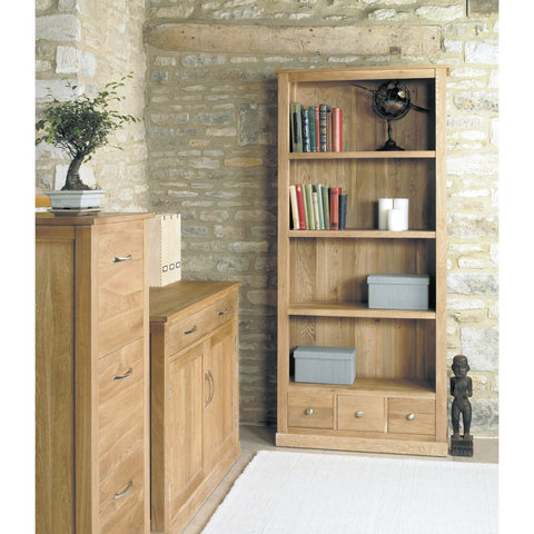 Mobel Oak Large 3 Drawer Bookcase COR01A