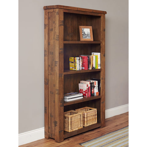 Heyford Rough Sawn Oak Large Open Bookcase CRS01A