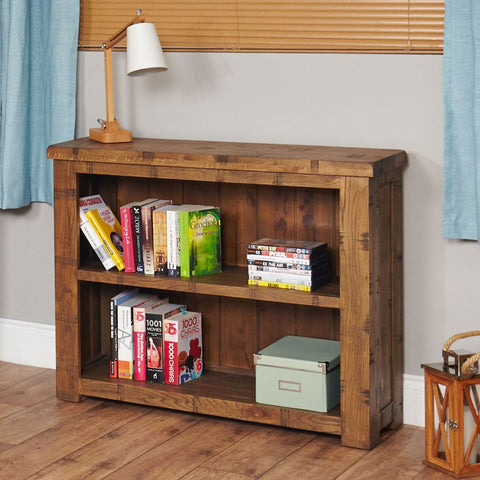 Heyford Rough Sawn Oak Low Bookcase CRS01B