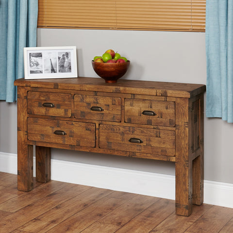 Heyford Rough Sawn Oak Console Table CRS02D