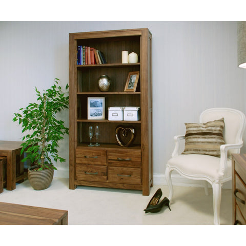Mayan Walnut Large 4 Drawer Bookcase CWC01A