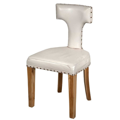 White Leather T Back Dining Chair J101-WH